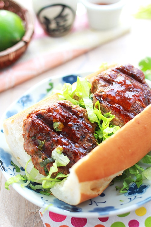 Easy Asian chili beef burger recipe.