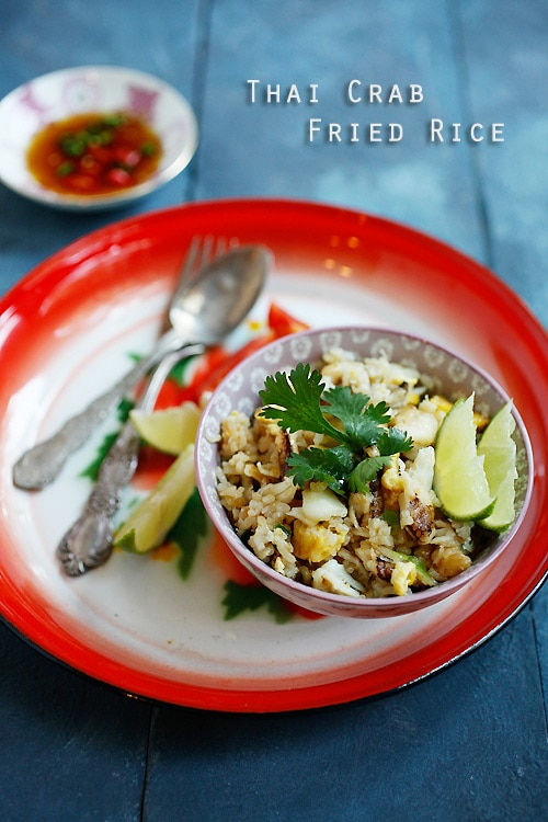 Thai crab fried rice made with steamed rice, eggs, and crab meat.