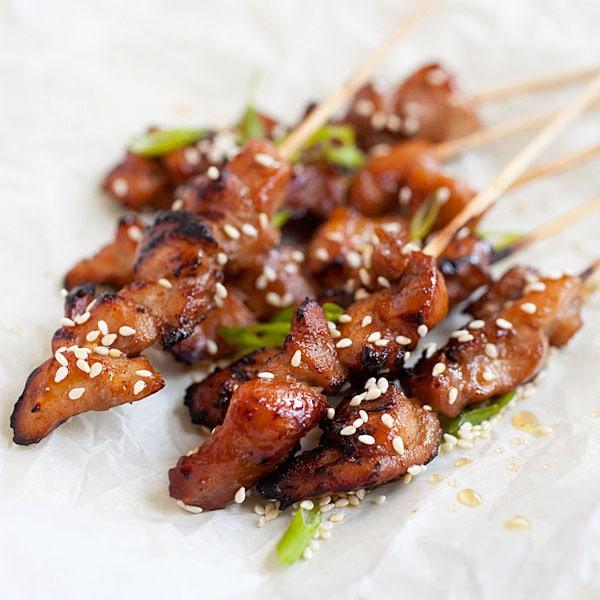 Honey Sesame Chicken Skewers Grilled Rasa Malaysia
