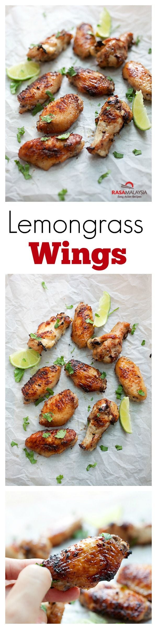 Lemongrass chicken wings - marinate the wings with lemongrass & Asian seasonings for the best party wings ever | rasamalaysia.com