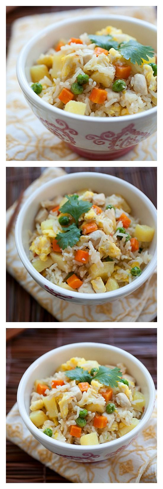 Chicken and Pineapple Fried Rice – this Thai-inspired fried rice recipe is scrumptious, quick, easy and takes 20 minutes. A great recipe for the family! | rasamalaysia.com