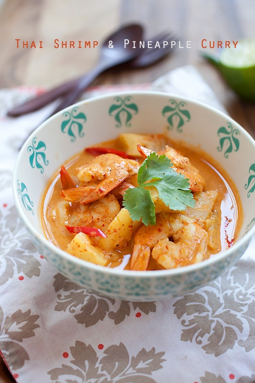 Easy and delicious Thai red shrimp and pineapple curry served in a bowl.
