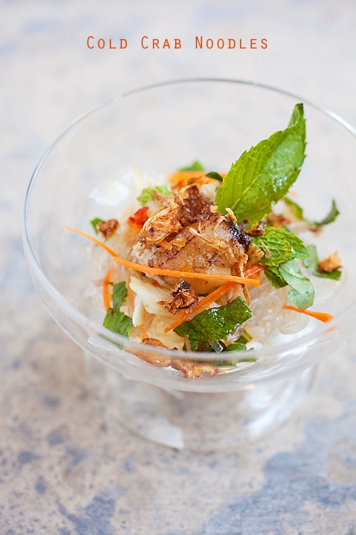 Easy and delicious cold crab noodles starter served in a dessert bowl.