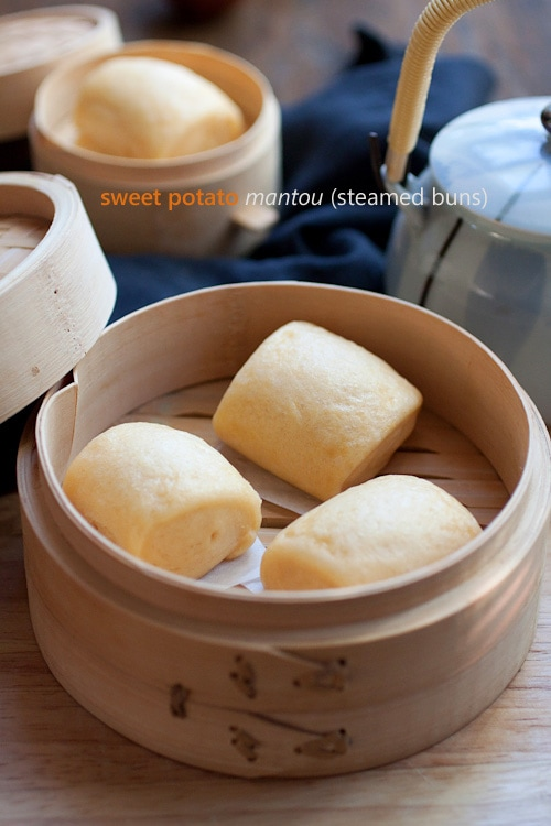 How to Make Chinese Mantou - soft, pillowy and fluffy steamed buns are THE BEST! Make these sweet potato mantou with step-by-steps | rasamalaysia.com