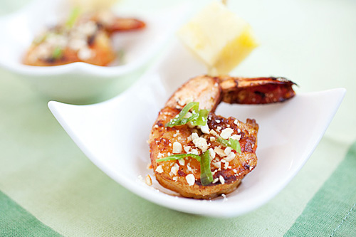 Vietnamese pineapple shrimp skewers marinade with tamarind juice.