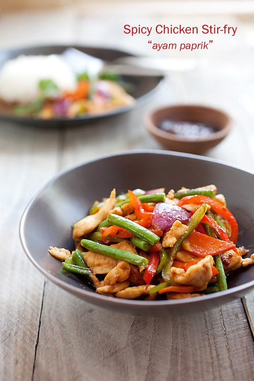 Easy and authentic Malaysian spicy chicken stir fry served in a plate.