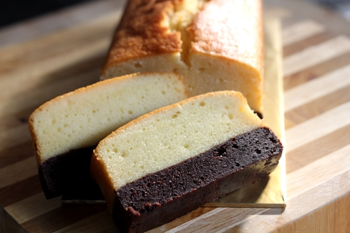 Easy and delicious thick brownie and rich butter cake loaf.