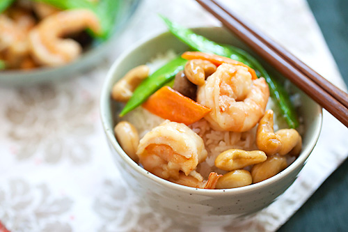 Healthy homemade Chinese style stir fry cashew nuts with shrimps Chinese takeout dish.