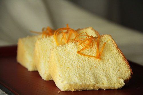 Easy homemade chiffon sponge cake in orange flavor.
