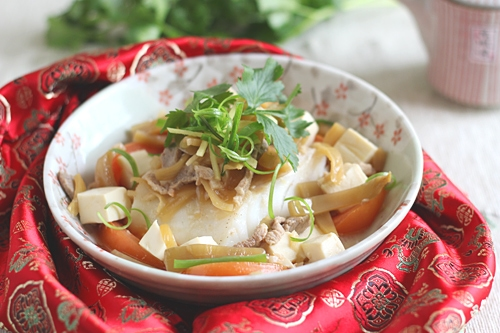 Easy and healthy Malaysian Teochew steamed fish serve in a plate.