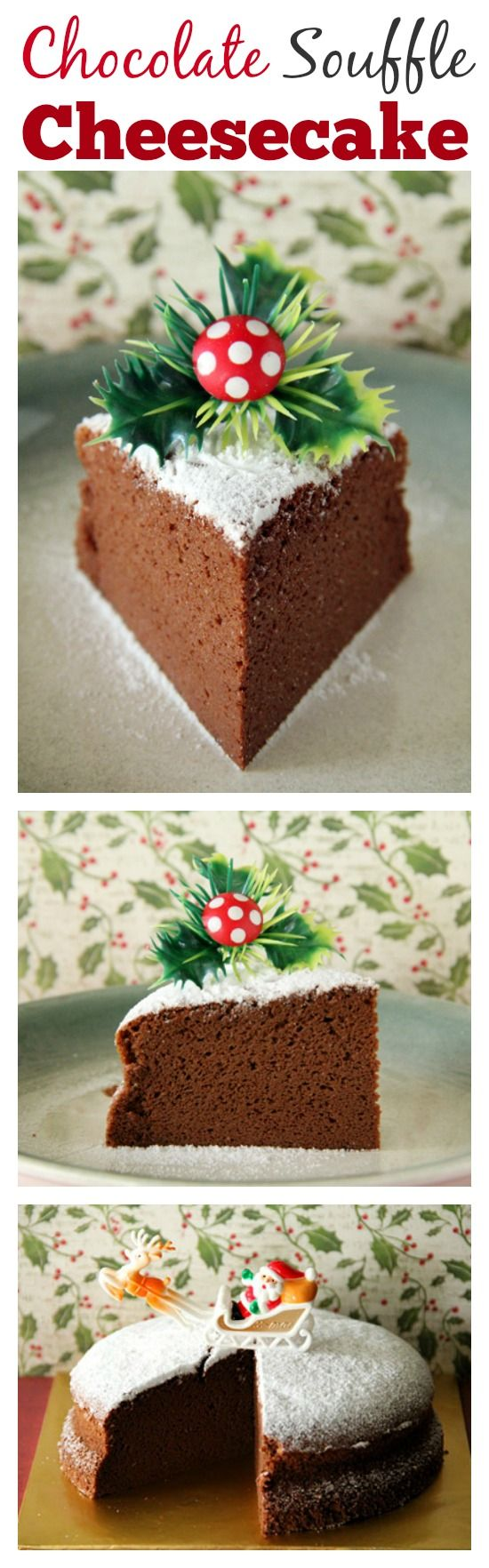 3-ingredients Chocolate Souffle Cheesecake - AMAZING, light, and the BEST cheesecake ever, get the easy recipe | rasamalaysia.com