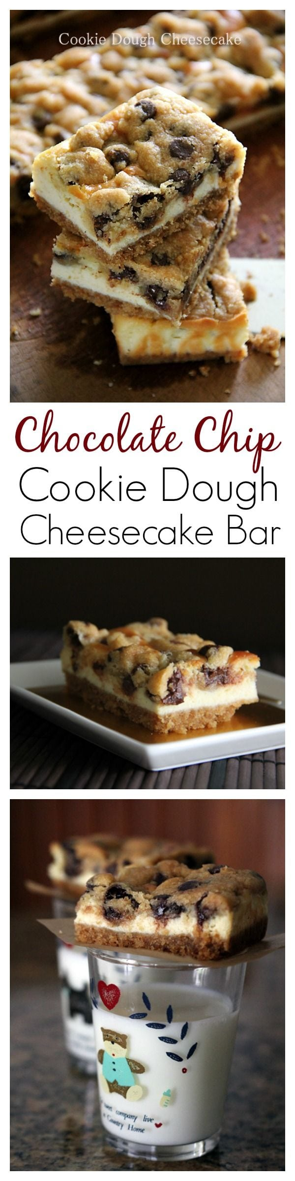Chocolate Chip Cookie Dough Cheesecake Bar - the BEST cheesecake bar and dessert EVER with chocolate chip, cookie dough and cheesecake!! | rasamalaysia.com