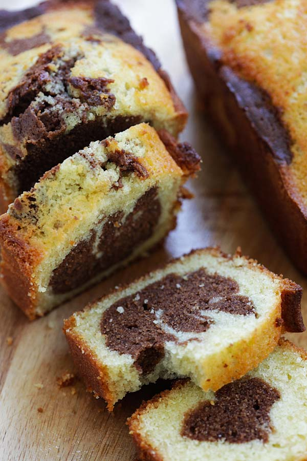 Homemade marble cake recipe with butter, sugar, all purpose flour, eggs and cocoa powder.