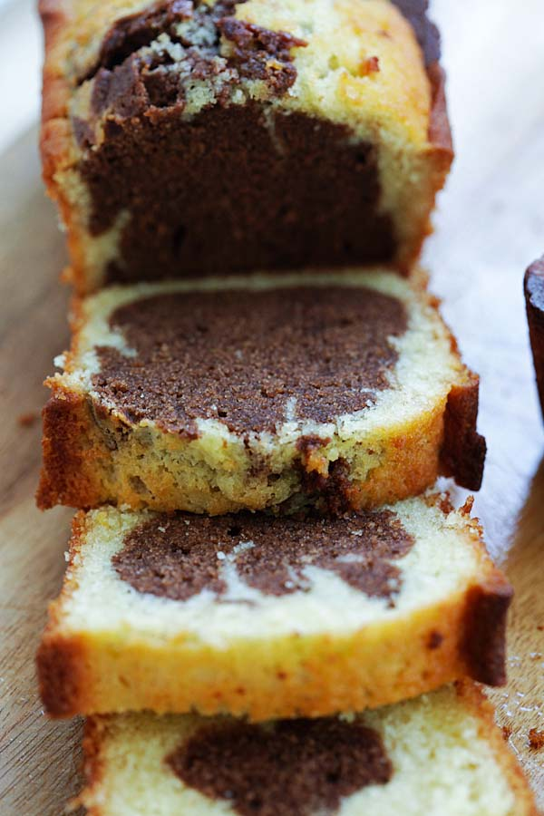 Delicious and easy marble cake recipe.