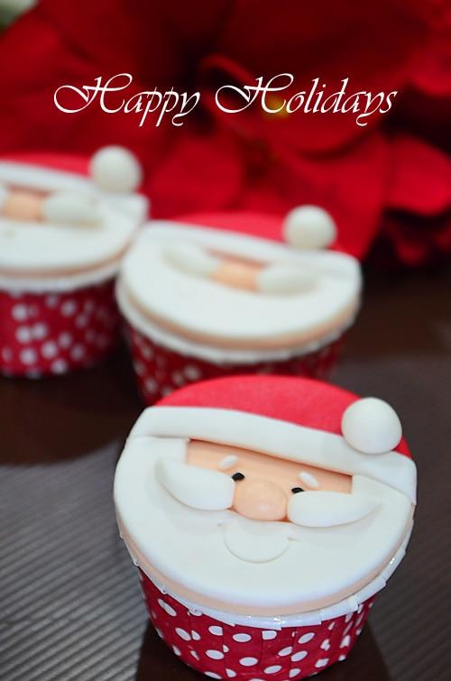 Easy cute festive homemade santa cupcakes.