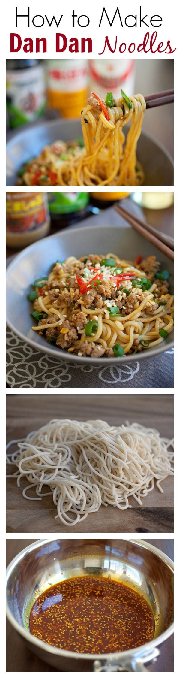 How to Make Sichuan Dan Dan Noodles. Dan Dan noodles are super delicious - spicy, sour and savory. Check out the EASY recipe | rasamalaysia.com