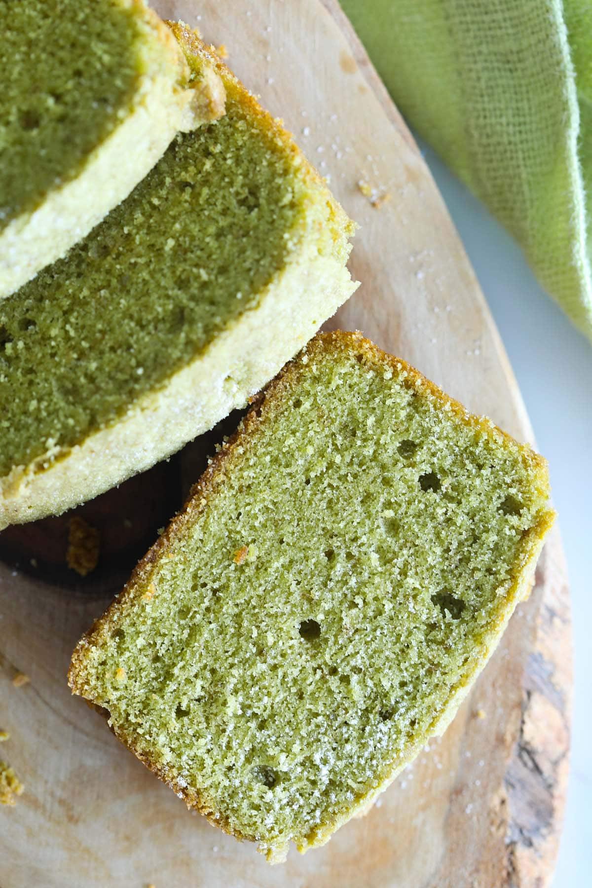 Moist matcha pound cake.