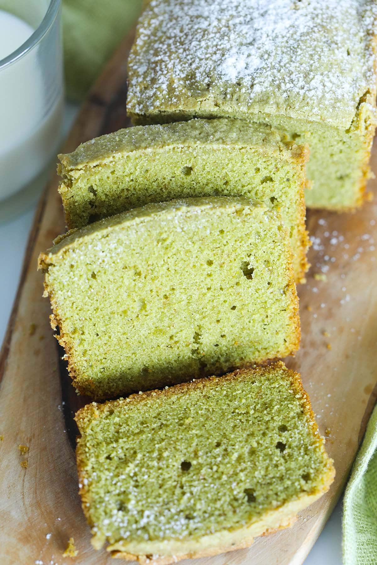 Easy Matcha pound cake, ready to serve.