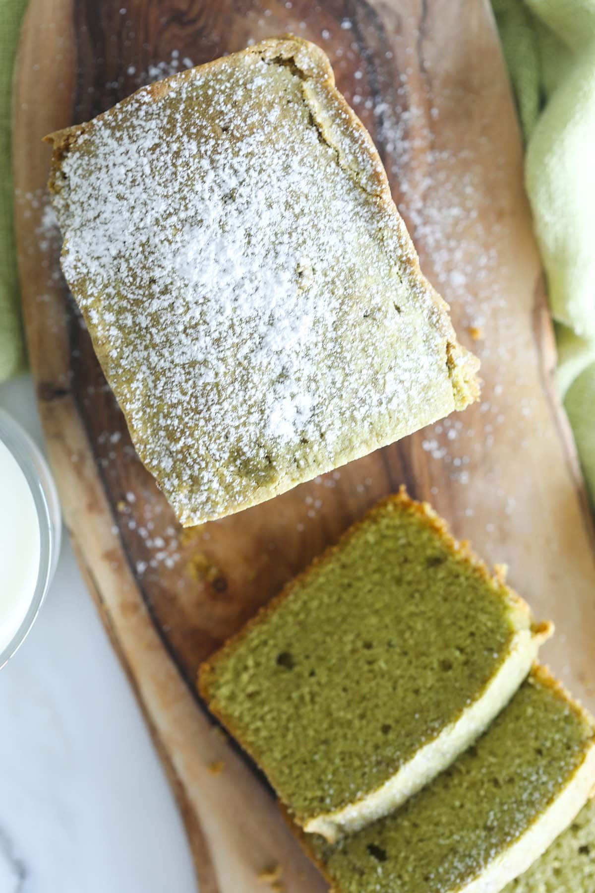 Green tea pound cake.