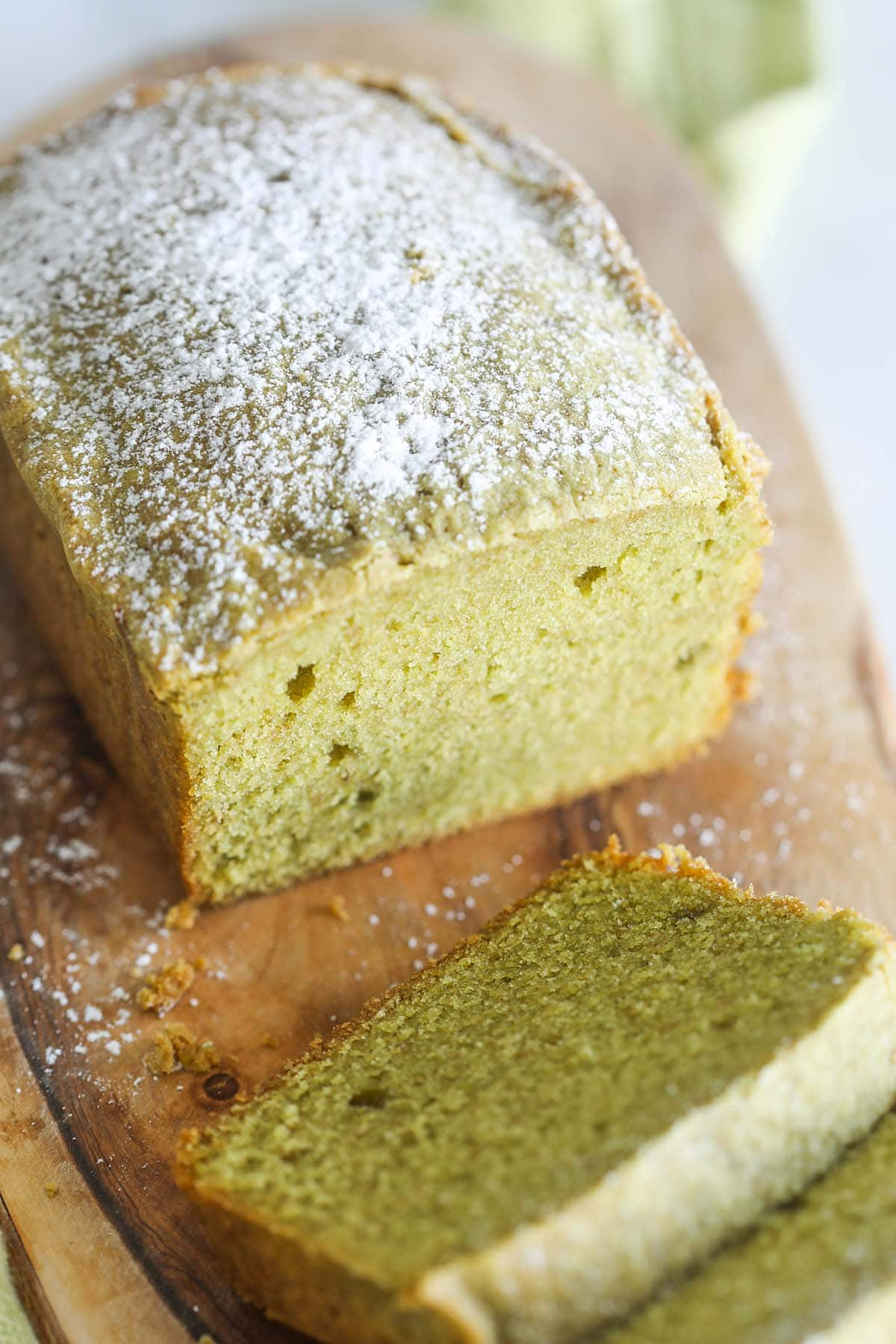Healthy Matcha pound cake, sliced to pieces.