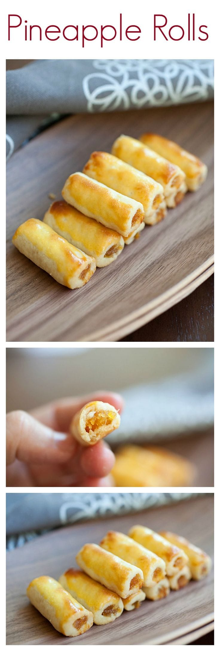 Pineapple Rolls - amazing pastry filled with pineapple jam, a must-have for Lunar New Year in Southeast Asia | rasamalaysia.com
