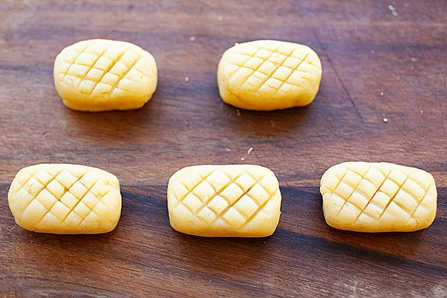 Pineapple tarts before baking in the oven.