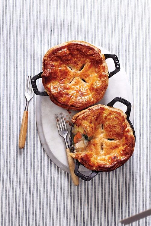 Chicken potpie and chicken potpie recipe using frozen puff pastry.