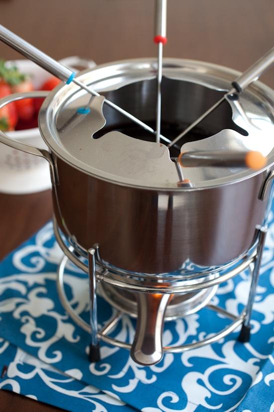 Fondue set used to make chocolate fondue to dip.