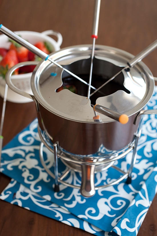 Rich and easy dark chocolate fondue, ready to serve.