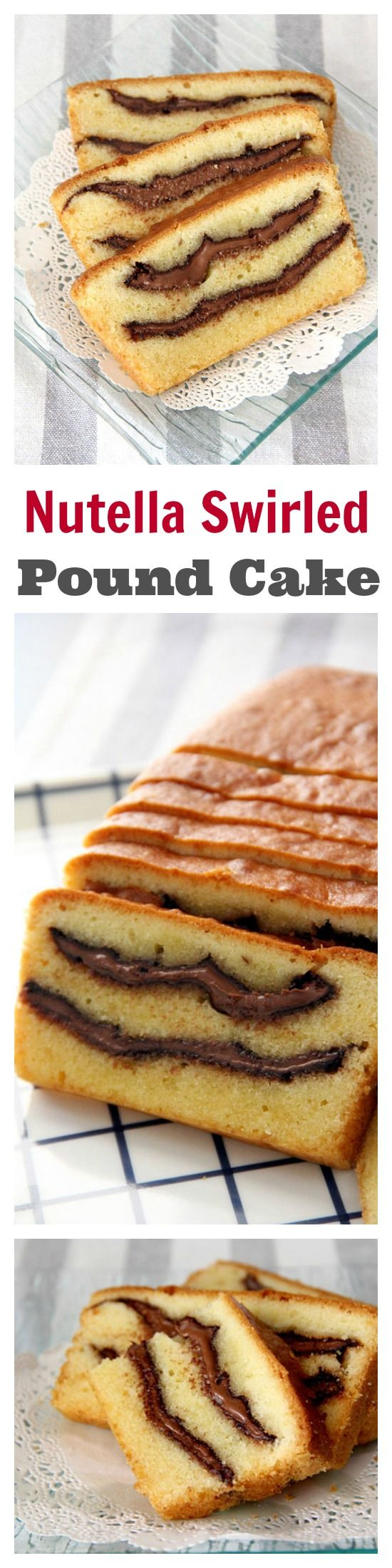 Nutella swirled pound cake - thick, gooey Nutella swirls in rich buttery pound cake | rasamalaysia.com
