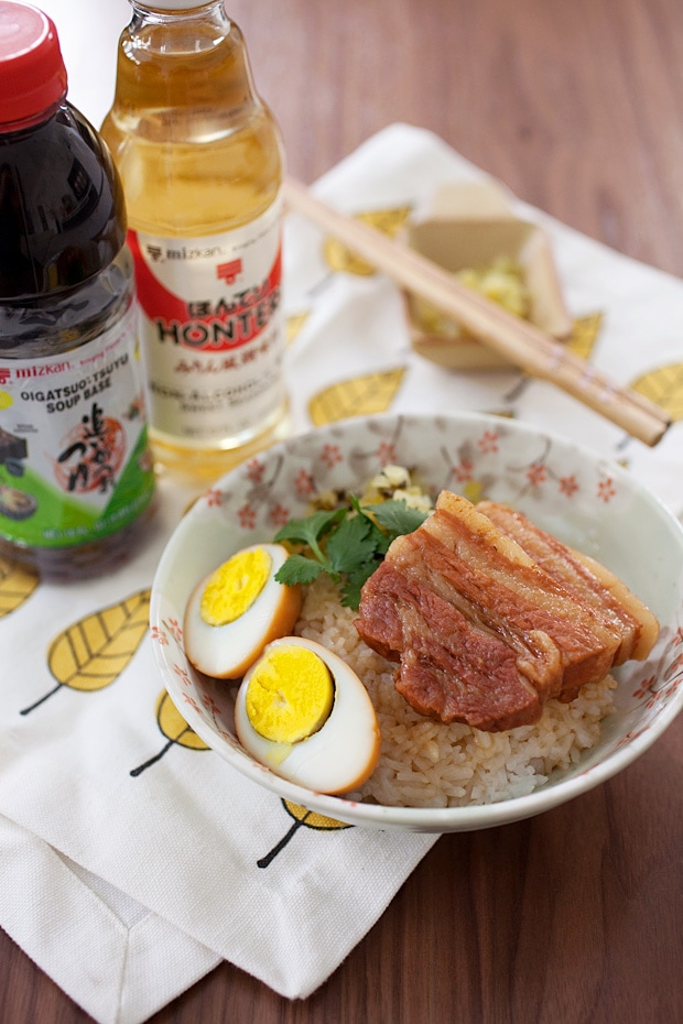 Homemade healthy Taiwanese Braised Pork Belly with rice and boiled eggs.