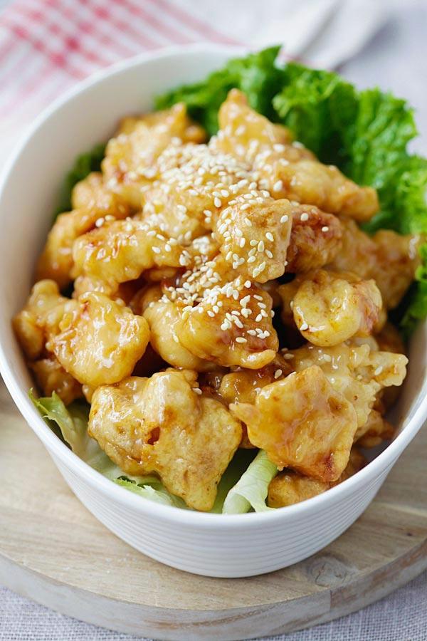 recipe: crispy honey lemon chicken [20]