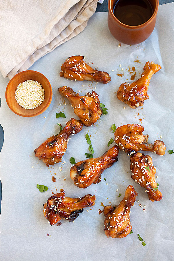 Top down view of sweet and sticky Honey Soy Chicken Wings wings with honey and soy sauce glaze.