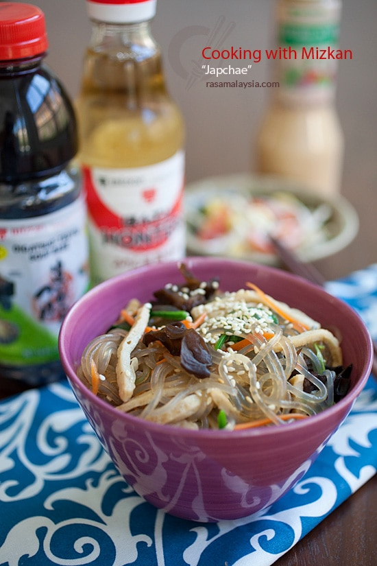 Easy Korean Japchae with easy homemade sauce in a bowl.