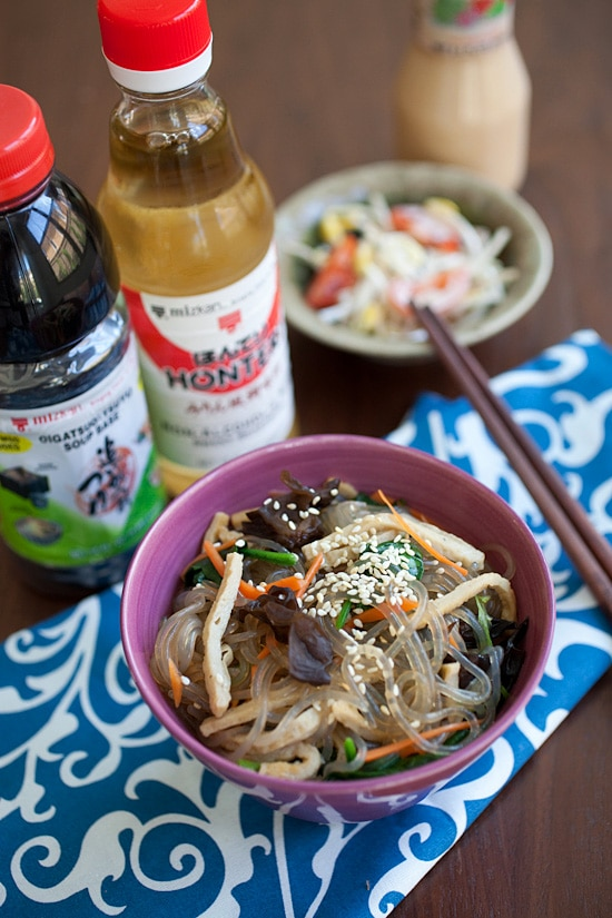 Homemade authentic Korean mix noodles with easy ingredients in a bowl.