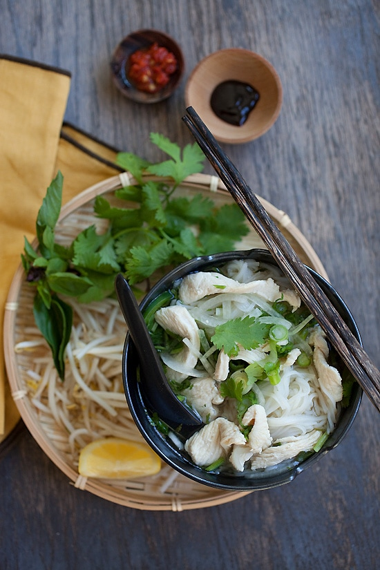 Easy and healthy Vietnamese pho soup made with chicken breasts and served in a bowl.