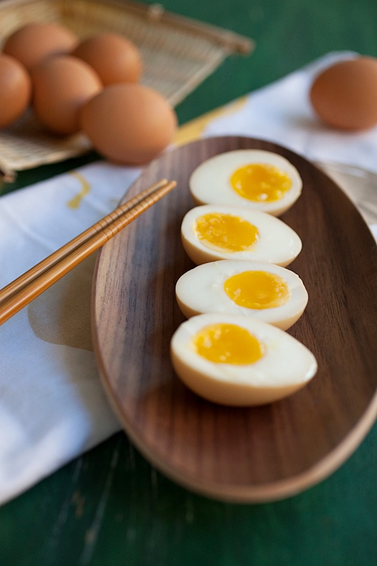 Easy gooey, soft, Japanese ramen eggs cut in half.