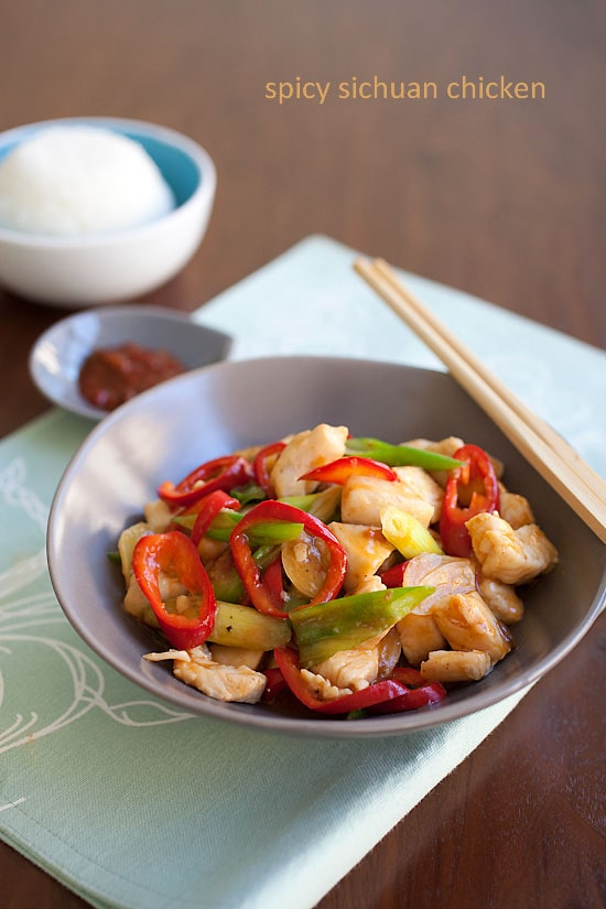 Spicy chicken stir-fry, Taiwanese style in a serving dish.