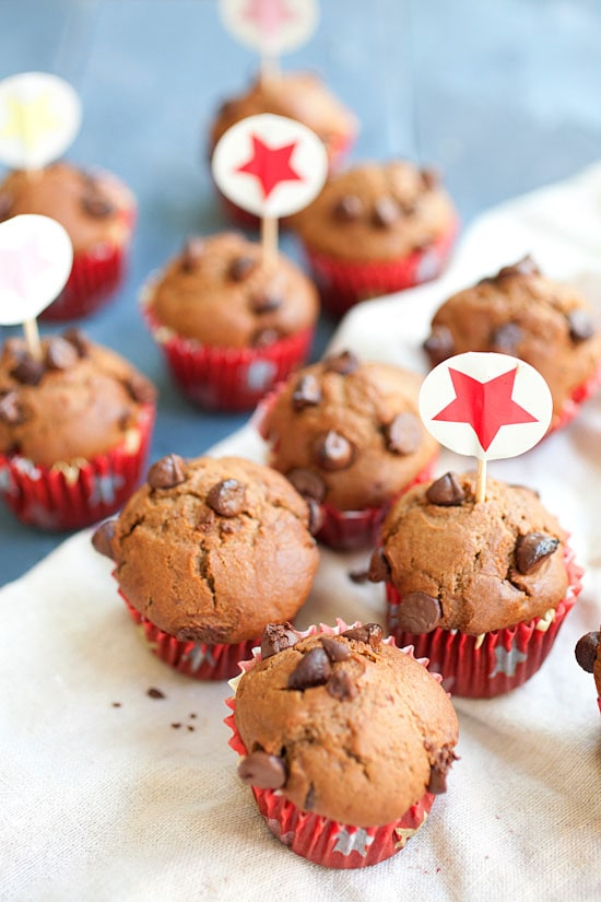 Easy and quick Nigella Lawson's chocolate chocolate chip muffins.