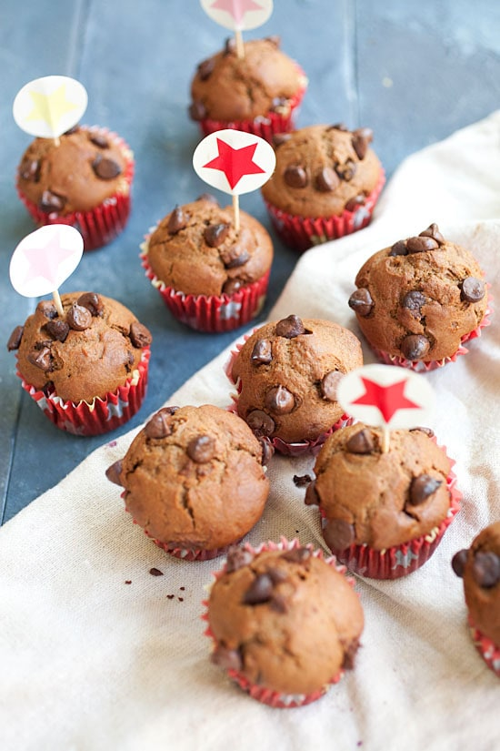 Easy and delicious homemade Nigella Lawson's chocolate chocolate chip muffins.