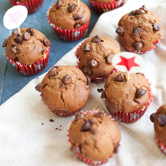 Nigella Lawson's chocolate chocolate chip muffins. Loaded with chocolate, these muffins are decadent and a perfect way to wake up to breakfast   rasamalaysia.com