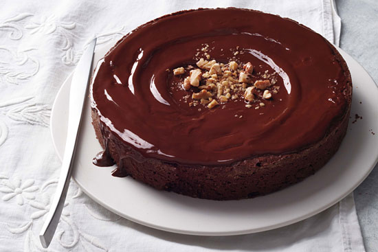 Easy homemade flourless chocolate walnut torte cake, ready to serve.