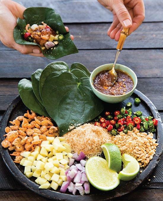 Miang Kham, or betel leaf-wrapped salad bites, one of my favorite Thai recipes. | rasamalaysia.com