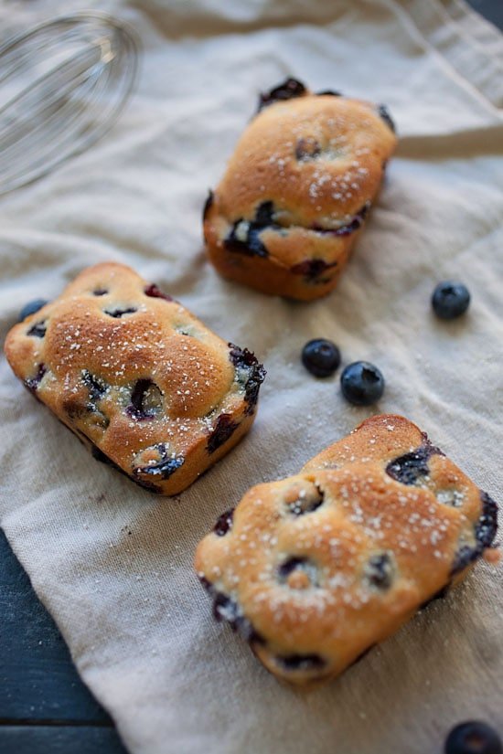 Easy and quick homemade mini blueberry cake.
