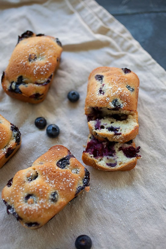Healthy homemade sliced mini blueberry cake ready to serve.