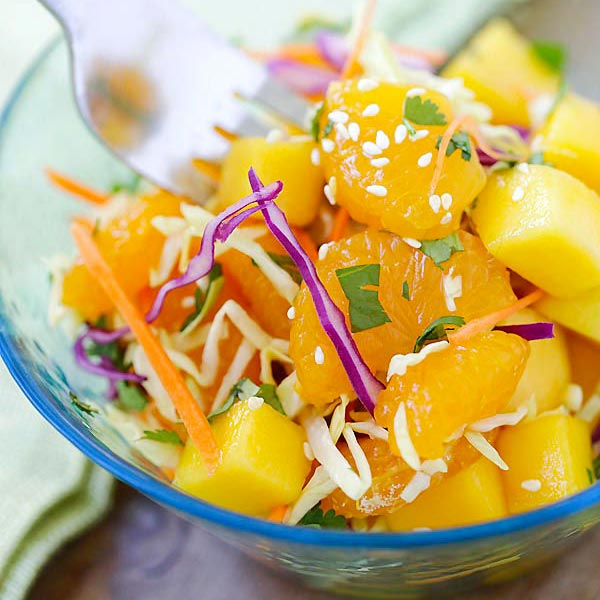 Asian Fruit Slaw - healthy, low-calorie, and delicious Asian fruit salad recipe that makes you feel good every day, so light and refreshing! | rasamalaysia.com