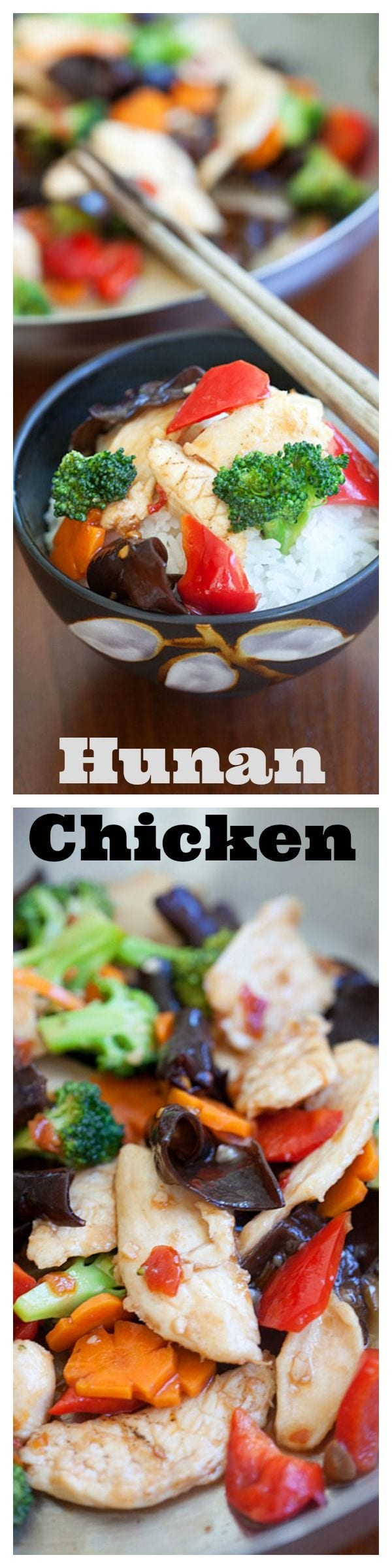 Hunan chicken is a tasty Chinese chicken dish with broccoli, peppers in a spicy Hunan sauce. Easy Hunan Chicken recipe that is better than takeout | rasamalaysia.com