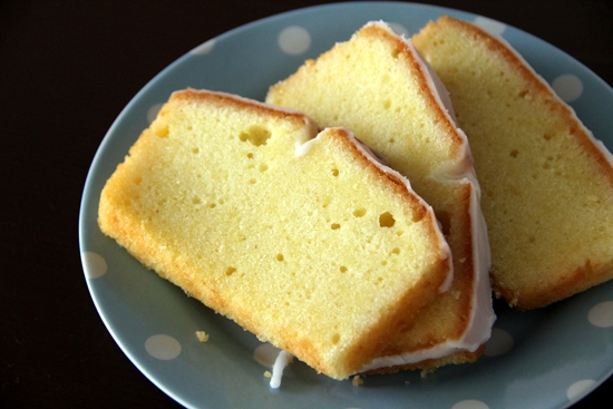 Sliced Easy homemade Meyer lemon pound cake served in a plate.