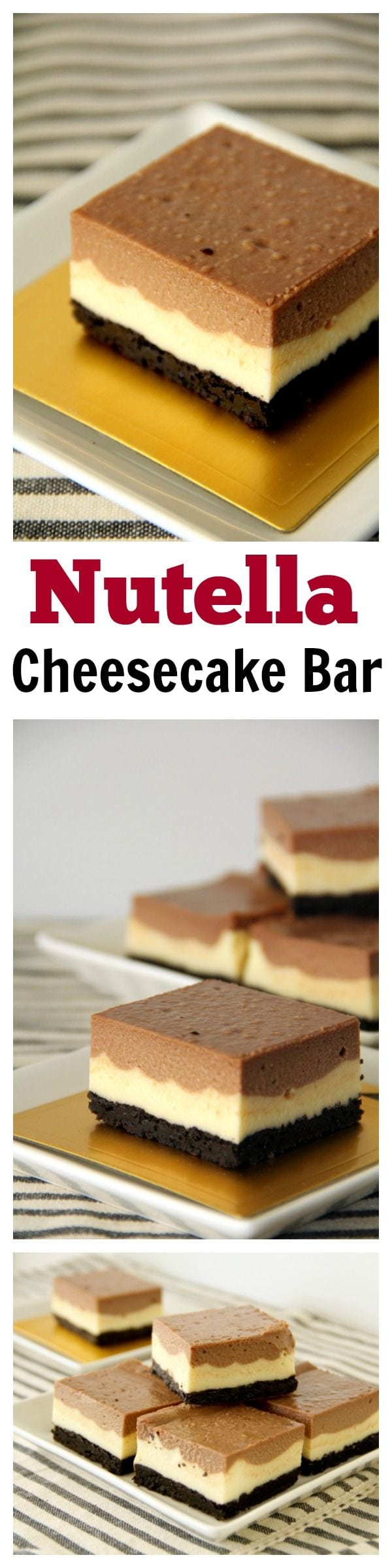Nutella Cheesecake Bars with Oreo Base - Crazy decadent and rich cheesecake bar loaded with Nutella, must-try recipe | rasamalaysia.com