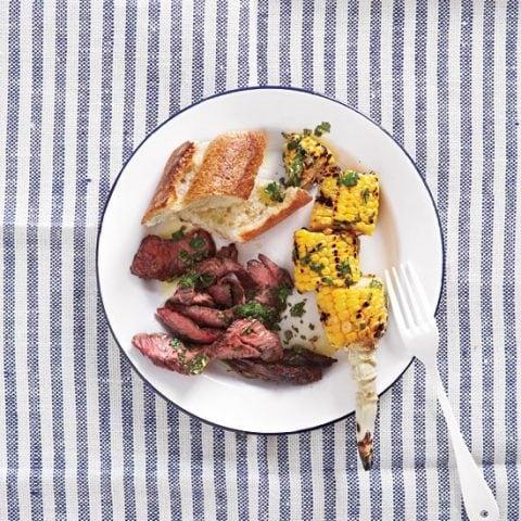 Skirt Steak and Corn with Chimichurri